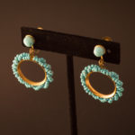 Beaded Turquoise Screw-Back Earrings
